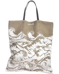 Simeon Farrar - Linen Tote Bag With Hand-printed Waves - Lyst