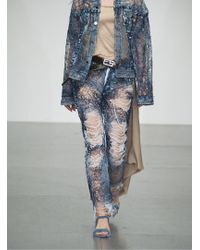 Faustine Steinmetz - Yarn Painted Transparent Denim Jeans - Sold Out - Lyst