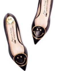 Camilla Elphick - Raise A Smile Black With Gold Flats - Lyst
