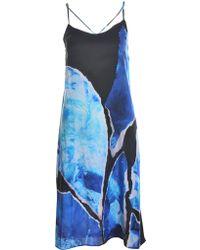Florence Bridge - Phoebe Blue Torn Wave Silk Slip Dress - Lyst