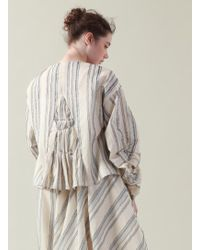Renli Su - Tucked And Stitched Ecru And Blue Striped Top - Lyst