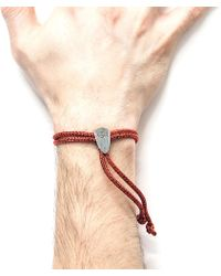 Anchor & Crew - Red Noir Pembroke Silver And Rope Bracelet - Lyst