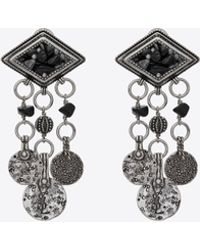 Saint Laurent - Marrakech Diamond-shaped Earrings In Silver-toned Tin With Tassels - Lyst