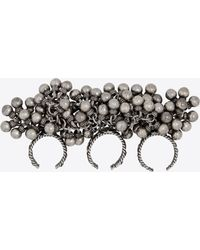 Saint Laurent - Three-finger Folk Ring With Bells In Silver Metal - Lyst