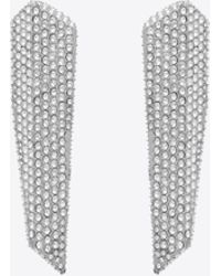 Saint Laurent Smoking Stalactite Earrings In Silver-tone Metal With White Crystals