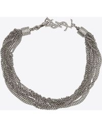 Saint Laurent - Loulou Necklace With Twisted Chains In Silver Brass - Lyst
