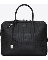 Saint Laurent - Small & Flat Museum Briefcase In Black Crocodile Embossed Leather - Lyst