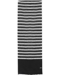 Saint Laurent - Écharpe à maille marinière en jersey de lin et soie noir et ivoire - Lyst