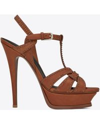 Saint Laurent - Tribute 105 Sandals In Amber Studded Leather - Lyst