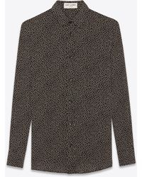 Saint Laurent - Shirt In Black Printed With White Polka Dots - Lyst