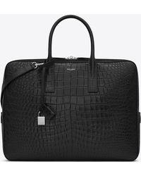 Saint Laurent | Museum Briefcase In Black Crocodile Embossed Leather | Lyst