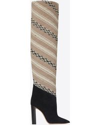 Saint Laurent - Tanger 105 Thigh Boots In Ikat Fabric And Black Suede - Lyst
