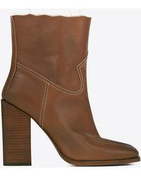 Saint Laurent - Jodie 105 Western Ankle Boot In Cognac Leather - Lyst