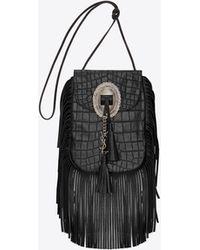 Saint Laurent - Anita Crocodile-Embossed Leather Cross-Body Bag - Lyst