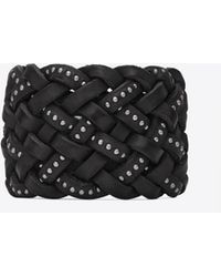 Saint Laurent - Marrakech Cuff Bracelet In Plaited And Studded Black Leather - Lyst