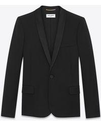Saint Laurent - Shawl Collar Tuxedo Jacket In Grain De Poudre - Lyst