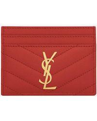 Saint Laurent - Credit Card Case In Lipstick Red Textured Matelassé Leather - Lyst