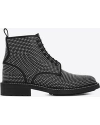 Saint Laurent - William 25 Studded Lace-up Boot In Black Leather - Lyst