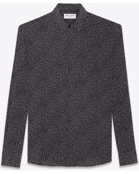 Saint Laurent - Yves-collar Shirt In Black Crepe De Chine Printed With White Polka Dots - Lyst