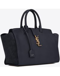 Saint Laurent - Downtown Small Cabas In Leather And Suede - Lyst