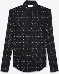 Saint Laurent - Shirt In Black Silk With Gold Diamond Shapes - Lyst