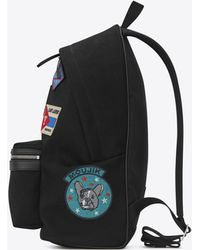Saint Laurent - City Backpack With Patches In Black Twill And Leather - Lyst 20060f4fc8598