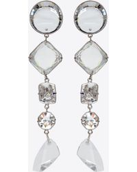 Saint Laurent - Smoking Long Chain Earrings In Silver-toned Brass And White Crystals - Lyst