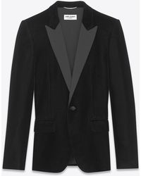 Saint Laurent - Veste de smoking col cranté en velours - Lyst