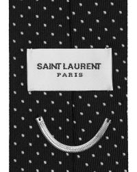 Saint Laurent - Signature Pin Dot Tie In Black And Off White Silk Jacquard - Lyst