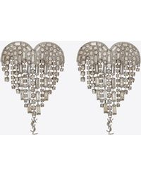 Saint Laurent | Smoking Shooting Heart Earrings In Brass And White Crystals | Lyst