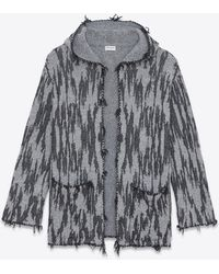 Saint Laurent - Baja Cardigan With Ikat Motifs In Black And White Jacquard - Lyst