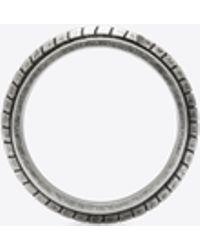 Saint Laurent - Bague FOLK en métal argent oxydé - Lyst