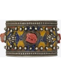 Saint Laurent - Marrakech Cuff Bracelet In Tin, Brass, Coral And Blue Enamel - Lyst