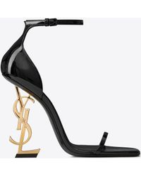 b72616ef82a8a Saint Laurent - Opyum Sandals In Patent Leather With A Gold-toned Heel -  Lyst