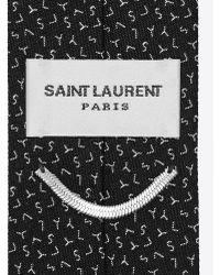 Saint Laurent - Slim Tie In Black And Grey Ysl Woven Silk Jacquard - Lyst