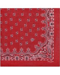 Saint Laurent - Bandana Square Scarf In Red And White Paisley Printed Cashmere And Silk Étamine - Lyst