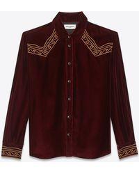 Saint Laurent - Embroidered Western Shirt In Velvet - Lyst
