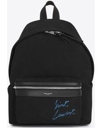 Saint Laurent - Mini City Embroidered Backpack In Black And Blue Diagonal Canvas - Lyst