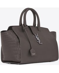 7a1929b01b4e Saint Laurent - Downtown Small Cabas In Smooth And Crocodile Embossed  Leather - Lyst