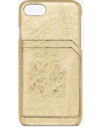 Saint Laurent - Iphone 8 Case In Crinkled Lamé Leather - Lyst