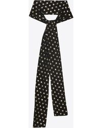 a00d52b930 Saint Laurent Polka Dot Ascot Scarf In Black And Ivory Georgette ...