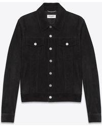 Saint Laurent | Black Suede Jean Jacket | Lyst