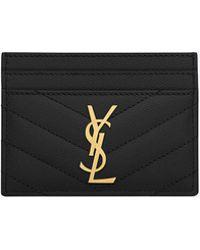 Saint Laurent - Monogram Textured Matelassé Leather Credit Card Case - Lyst