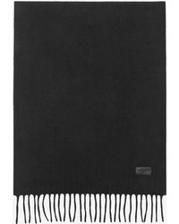 Saint Laurent - Knit Fringed Scarf In Black Cashmere - Lyst