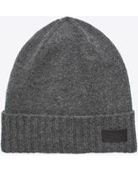Saint Laurent - Knit Hat In Grey Cashmere - Lyst