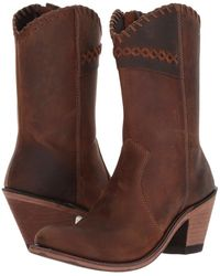 Old West Boots - Crisscross Stitch Boot (brown) Cowboy Boots - Lyst