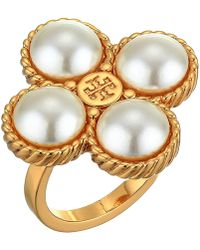 Tory Burch - Rope Clover Ring (cream/tory Gold) Ring - Lyst