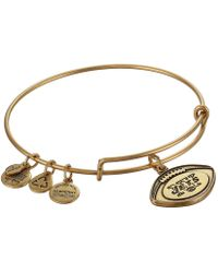 ALEX AND ANI - New York Jets Football Charm Bangle (rafaelian Gold Finish) Bracelet - Lyst