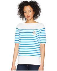 Lauren by Ralph Lauren - Striped Cotton T-shirt (soft White/vivid Cyan) Women's T Shirt - Lyst