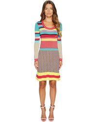 Boutique Moschino - Knit Multi Pattern Dress - Lyst